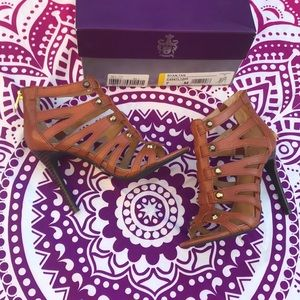 NWT Fergie Footwear Tan Ryan Sandal Heels